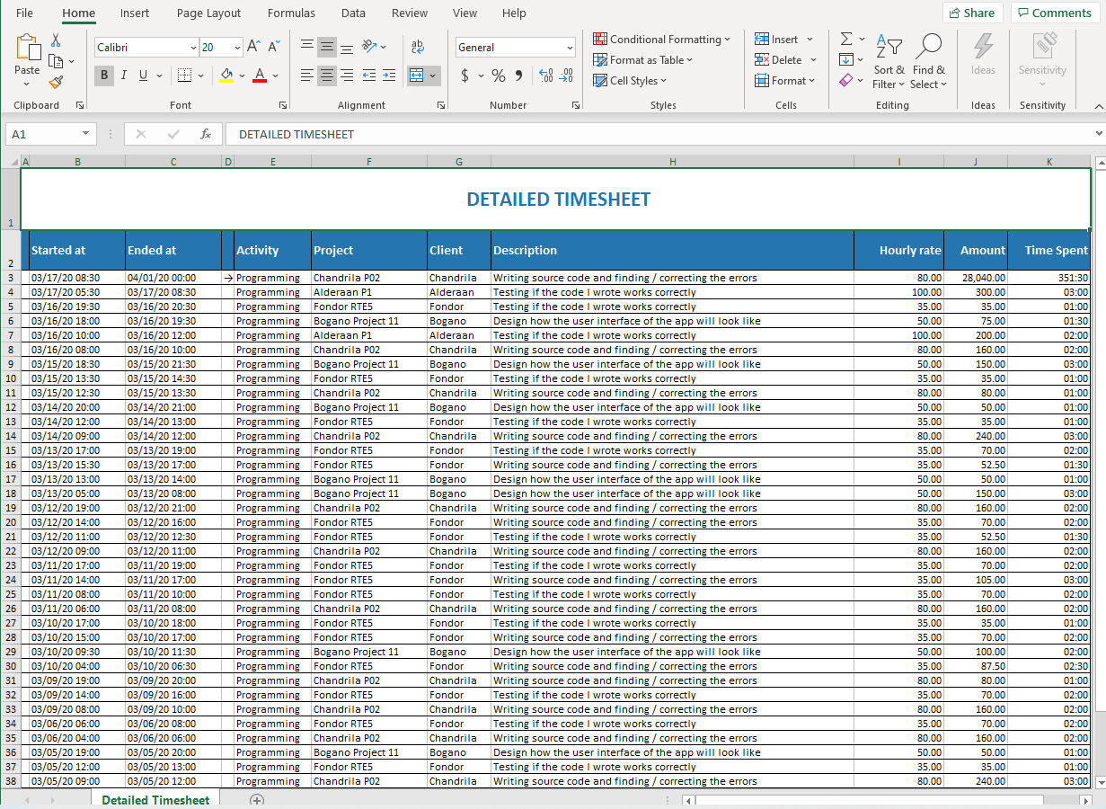 daily imesheet Excel