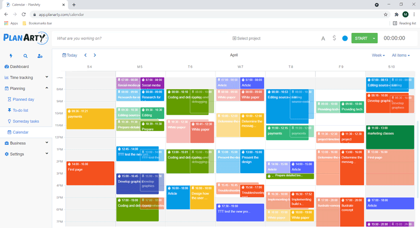 time tracks and to-do items on calendar
