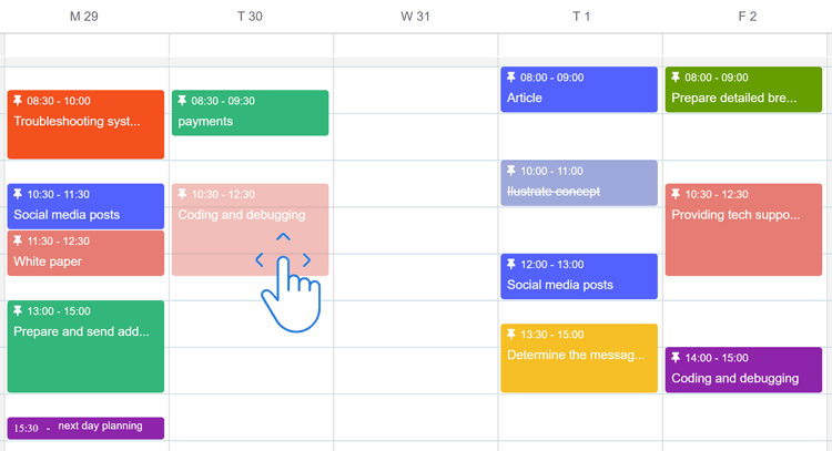 moving calendar events by dragging