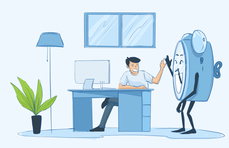 happy freelancer giving a highfive to a clock