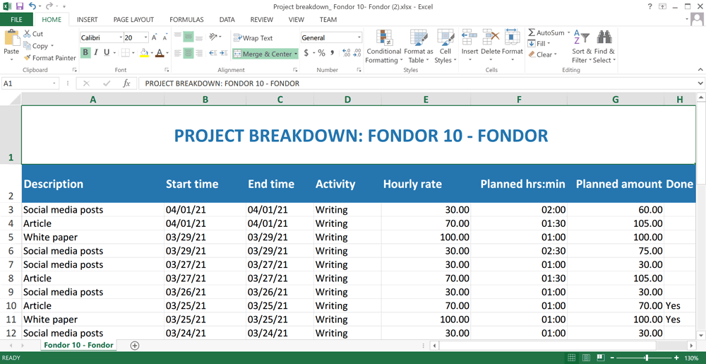 project breakdown exported excel list