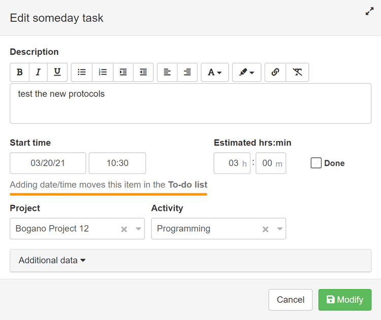Someday tasks <-> To-do list